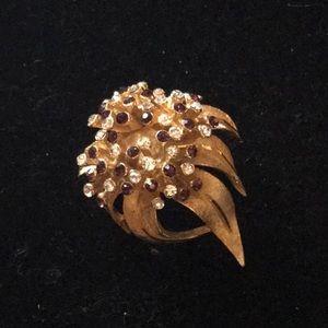 Vintage Crystal Flower Brooch Pin